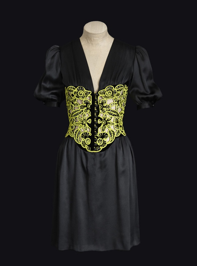 """6a619efdb0e Yves Saint Laurent, Short dress with green embroidered corselet,  Spring-summer 1971 haute couture collection. Photo: Sophie Carre. """""""