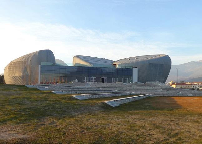 Rock Shaped Lakeside Theatre by Bargone Associati