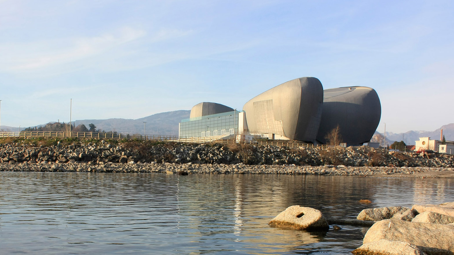 Rock Shaped Lakeside Theatre by Bargone Associati