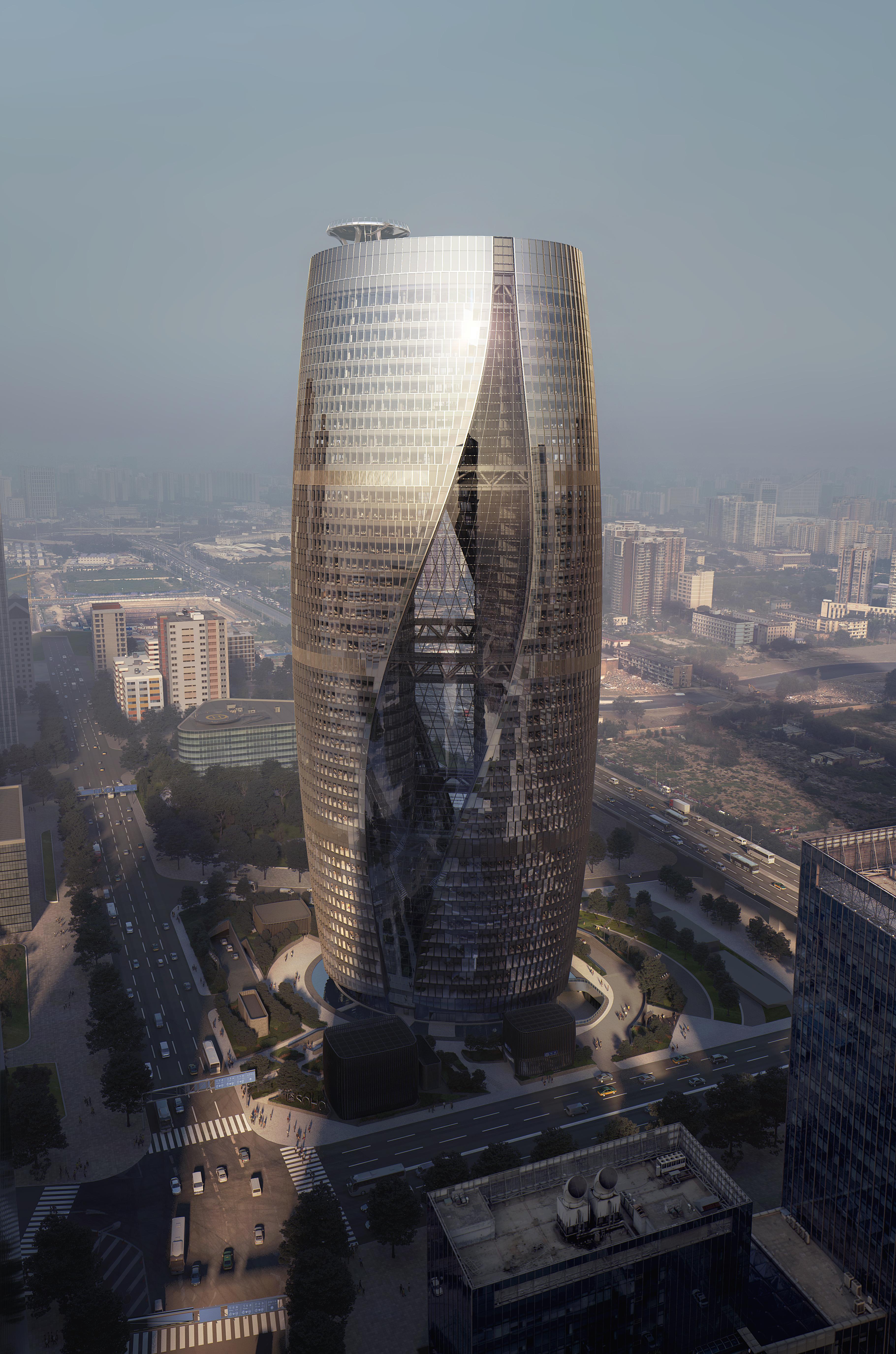 Leeza SOHO Tower by Zaha Hadid Architects housing world's heighest Atrium