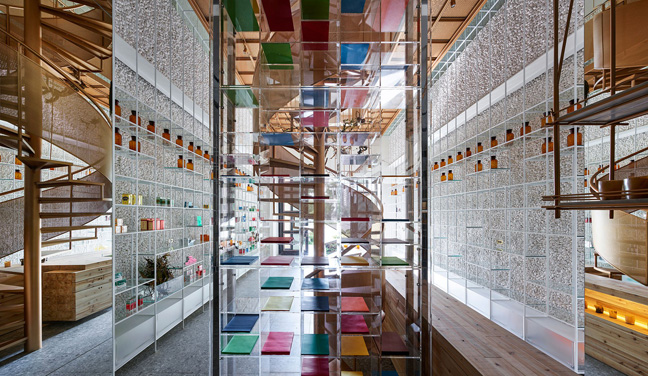 Molecure pharmacy by Waterfrom Design to subvert the traditional pharmacy layout