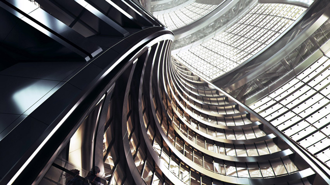 Leeza SOHO Tower by Zaha Hadid Architects housing world's heighest Atrium
